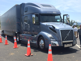 Reporters took the different configurations of the VNL for a spin on the Volvo test track....