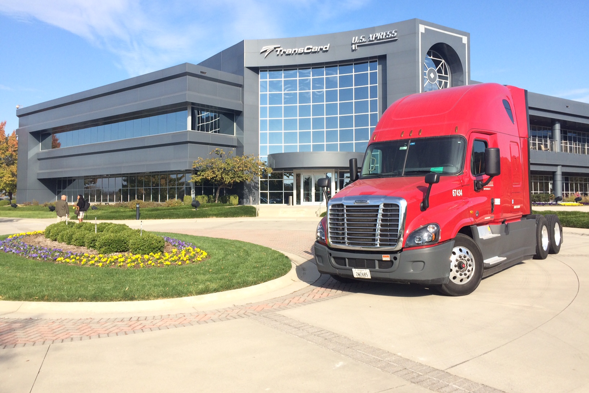 A new Freightliner Cascadia awaits its fuel test run at US Xpress headquarters in Chattanooga, TN.