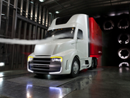 The Freightliner Revolution concept truck features many aerodynamic developments that found...