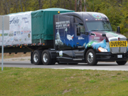 A new Kenworth T680 76-inch mid-roof sleeper built in October by employees at Kenworth's...
