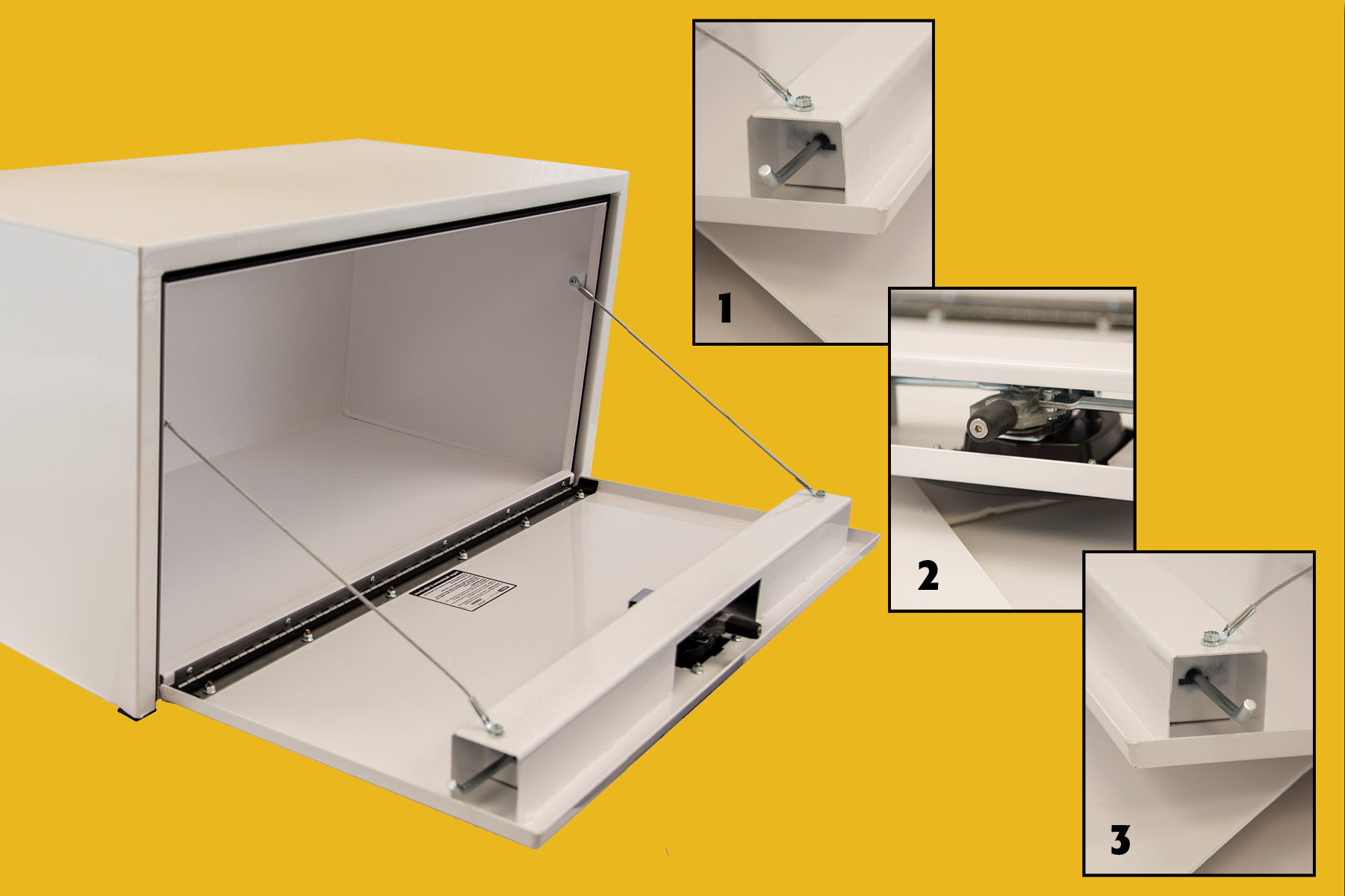 Three-Point Latch System, Underbody Toolboxes