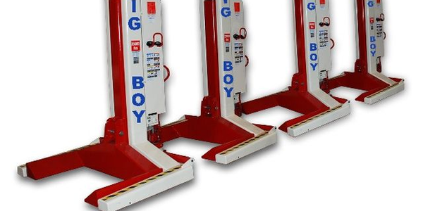 A set of four ST 1130 mobile column lifts has a capacity of 116,000 pounds.(Photo courtesy of...