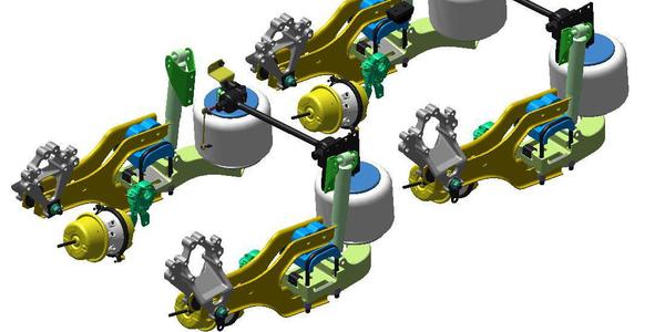 Twin Y Air Suspension, Mack proprietary axles mRide spring suspension