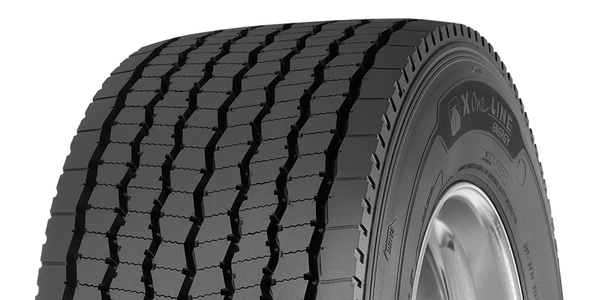 The Michelin X One Line Energy D tire is directional and uses matrix siping for optimized...