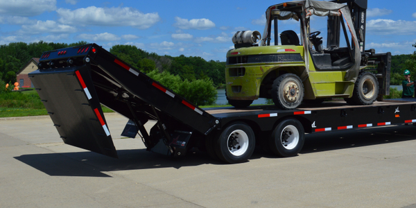 Power Tail Trailer Made for Hauling Construction Equipment
