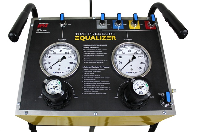 The Mobile Tire Pressure Equalizer is designed to quickly inflate or deflate up to five tires at a time.