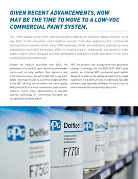 Evaluating the Performance of the Latest Low-VOC Paint Technology for Commercial Transport Vehicles