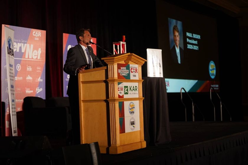 IARA President Paul Seger speaks at the Conference of Automotive Remarketing in Las Vegas on...