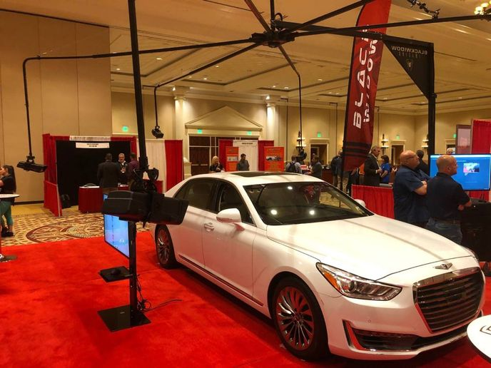 The Black Widow camera system, displayed June 16-17 at the Conference of Automotive Remarketing in Las Vegas, consistsof an automated, drive-through vehicle imaging system that takes consistent, high-resolution 4k images in seconds. - Photo: Martin Romjue / Bobit