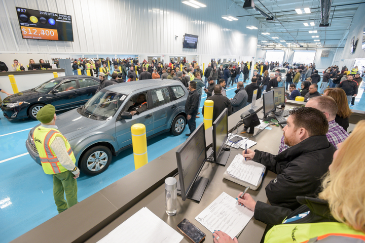To reduce the likelihood of an accident, KAR set a standard procedure to stop a car 20 feet behind the car in front of it. To ensure that auctions could accommodate this new procedure KAR redesigned all lanes throughout its organization. - Photo courtesy of KAR Auction Services.