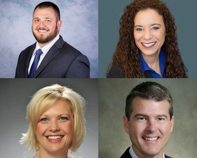 Clockwise from top left: Butch Herdegen III, GM, Minnesota Market Center; Melissa Roach, GM, Manheim Cincinnati; Joey Satfield, GM, Manheim Daytona-Jacksonville Market Center; and Syndiee Volentine, GM, Manheim Fort Myers. - Photos: Manheim