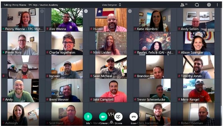 Auction Academy's first virtual session convened on Monday, June 22, providing an opportunity for students and staff to reconnect as a group and to discuss in depth the details of the program going forward. - Photo: Auction Academy