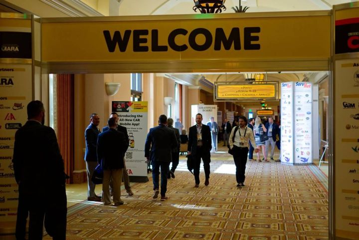 """""""WELCOME"""" is looking even better than it did at the entrance to the 2019 CAR event. How normal will this one be? Registrations are picking up in the final two-week sprint to the June 15-17 event at Caesar's Las Vegas. The more who show up, the more it's all coming back. . . - Photo: Automotive Fleet"""