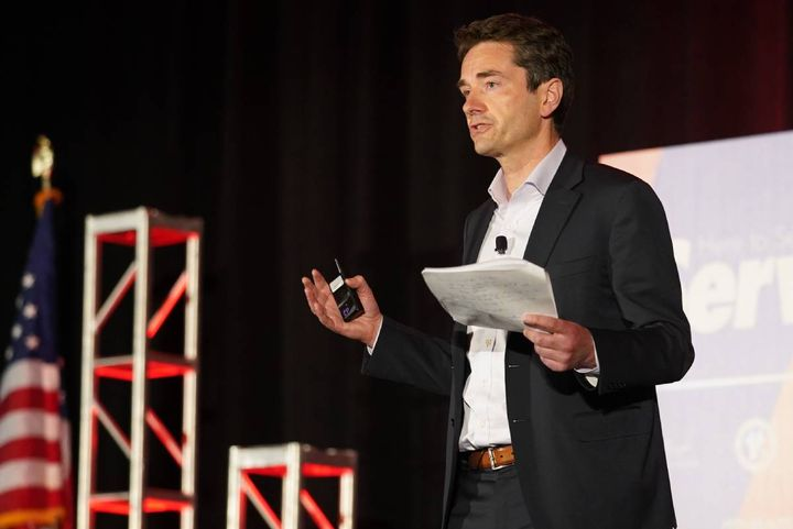 During his June 16 keynote, Peter Kelly, CEO of KAR Global, explained how digital marketplaces will operate as part of a network of physical auction facilities, complementing and streamlining traditional methods of selling vehicles. - Photo: bobit