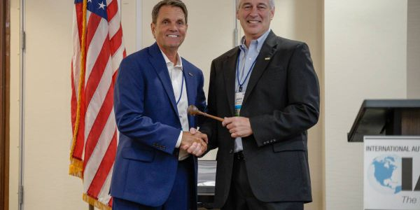 IARA Presidential handoff: Paul Seger (L) steps down after a two-year term and hands gavel to...