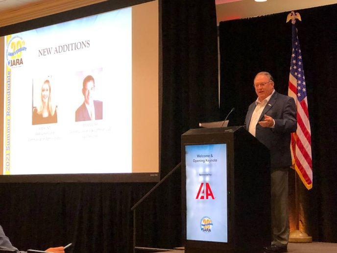 IARA executive director Tony Long opens the 2021 Summer Roundtable on Aug. 25, 2021 in San Antonio, Texas. - Photo: Martin Romjue / Bobit