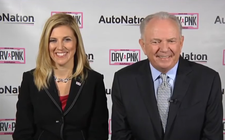 """Cheryl Miller and Mike Jackson appeared on CNBC's """"Squawk Box"""" to announce Miller's promotion from CFO to president and CEO of AutoNation, America's largest dealer group.  - Screenshot via CNBC Television Youtube."""