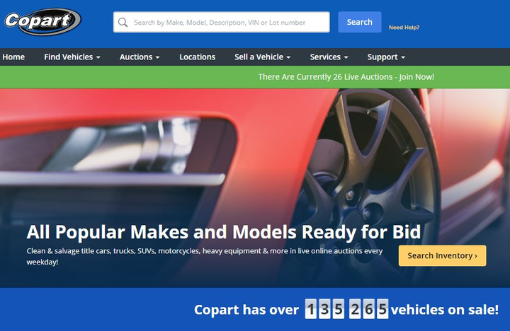 - Screenshot of Copart website.