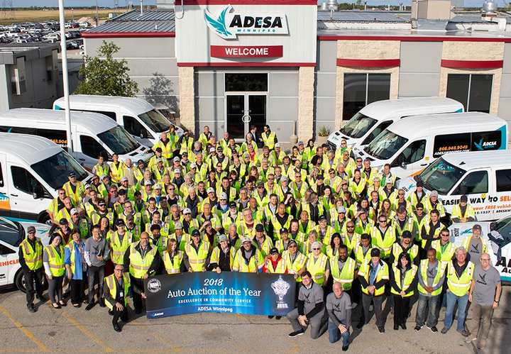 ADESA Winnipeg is based in Manitoba, Canada and received the award for its involvement in more than 55 charitable activities that raised $5.2 million in donations.  - Courtesy of NAAA.