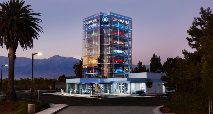 The vending machine offers people who have purchased a used vehicle through Carvana's online marketplace of more than 15,000 vehicles the ability to pickup their vehicles in a unique way.  - Photo courtesy of Carvana.