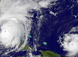 A satellite view of Hurricanes Irma and Jose.