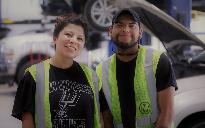 Former security guard Samantha Flores (left) has joined the Manheim Apprentice Program at the auction services provider's San Antonio location.