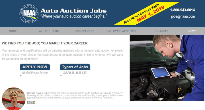 Auto Auction Jobs will be a free service that provides information about careers in the industry, links to auction job listings and the ability to complete a general application or submit a resume, the company announced.  - Screenshot from AutoAuctionJobs.com.