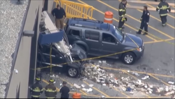 In 2017, adriver entered the auction showroom at a high rate of speed — an estimated 32 mph — and drove into the designated pedestrian area, hit several people, and crashed through a cinderblock wall.  - Screenshot of a video from the Fox News Youtube channel.