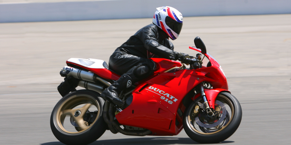Dave Alfonso pushes his Ducati 916 to the limits at California Speedway.