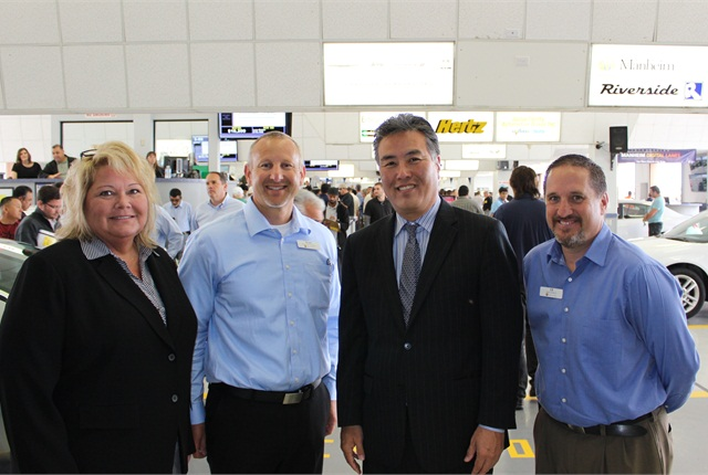 From left: Karyn Wrye, Manheim senior director of industry relations, Manheim; Scott Hurst, Manheim market vice president for Southern California market; Congressman Takano and Christopher Brown, Manheim Riverside general manager.