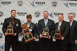(L-R) WC Ringman Phillip Gee III, WC Auctioneer Ben DeBruhl, WC Team winners Bobby McAdams and TJ Freije, WAAC President Paul C. Behr (PHOTO: Myers Jackson, Auctioneer).