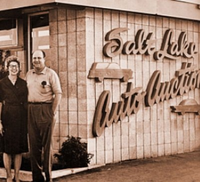 Frank and Esther Brasher founded the first Brasher's auction in Salt Lake City in 1949.This year, seven Brasher's auctions throughout the West celebrated the 65th Anniversary of the family business.(PHOTO: ServNet)