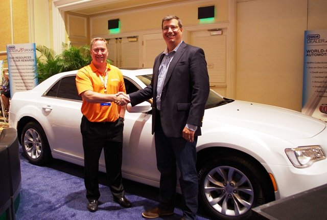 Andrew Gurowitz (left) with Joe Keadle of AFC and the 2015 Chrysler 300 Limited.