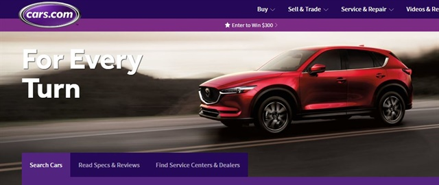 Screenshot of Cars.com.