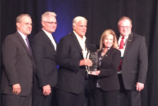 From left to right: Frank Hackett, CEO of NAAA; Jerry Hinton, president of NAAA; Mike Hockett; Jeannie Chiaromonte, president of IARA; and Tony Long, executive director of IARA