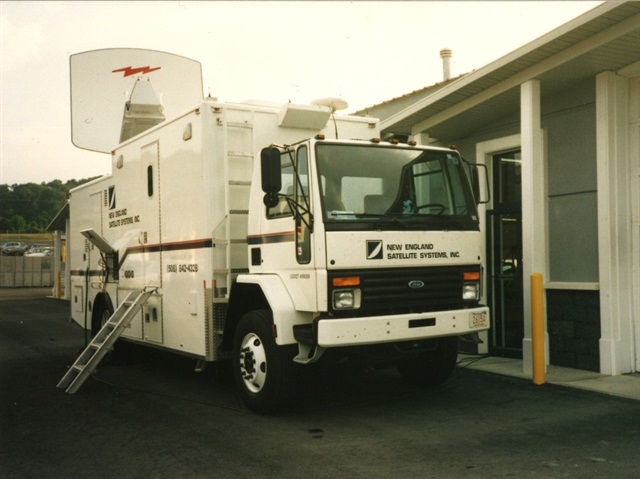The Satellite trucks set up in Waverly, N.Y. that day had come from the U.S. Open Tennis Tournament which had been played recently in the borough of Queens, New York City. The team from the Campus Group literally transformed offices at State Line Auto Auction into a broadcast center. (Photo: ServNet).