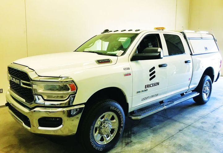 The Ericsson fleet consists of approximately 80% Ram Trucks used for repair, fix, and install work.  - Photo: Ericsson