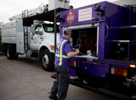 Booster's signature purple mini-tankers fuel more than 350 parked fleets every night with both diesel and gasoline.