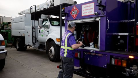 Booster's signature purple mini-tankers fuel more than 350 parked fleets every night with both...