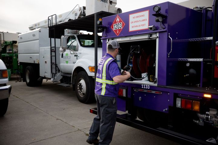 Booster's signature purple mini-tankers fuel more than 350 parked fleets every night with both diesel and gasoline. - Photo: Booster Fuels