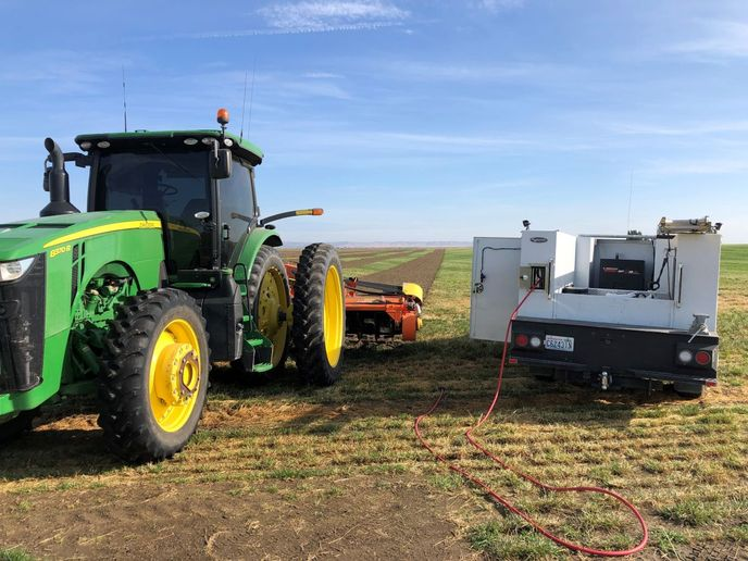 Thepotato farmfleet consists of ninesemitrucks, four tractors, and six trucks. - Photo: VMAC