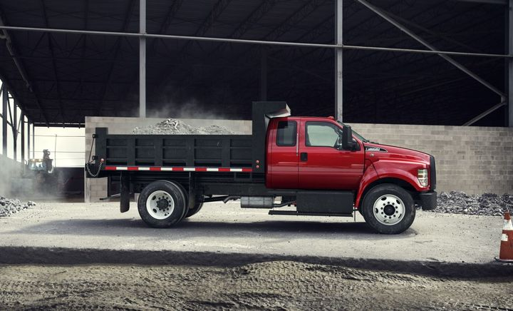 The current model-year 2021 F-650 and F-750 trucks are available with a choice of the third-generation 6.7L Power Stroke diesel V-8 or available all-new 7.3L gasoline V-8. The diesel engine has a standard power rating of 270 hp/700 lb.-ft. of torque. - Photo: Ford