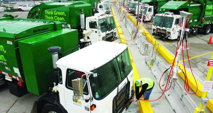 Waste Management operates the largest heavy-duty natural gas truck fleet of its kind in North America. More than 90% of its fleet purchases are near-zero vehicles.  - Photo: Waste Management