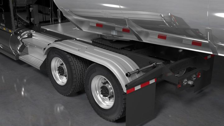 Minimizer fenders have a lip integrated into each fender that redirects the road spray back to the ground, which keeps the truck, trailer, and equipment clean and protected. - Photo: Minimizer