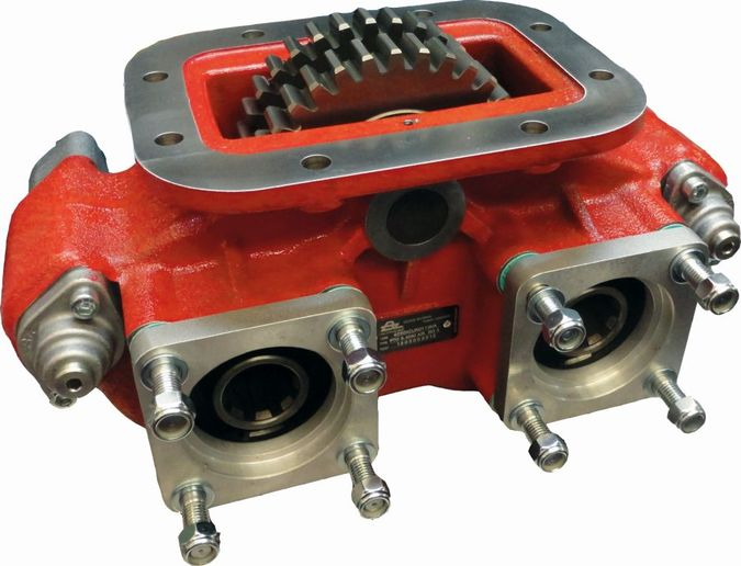 The Bezares 4200 Series Mechanical PTO is a dual output, eight-bolt, heavy-duty PTO with two independently air-operated outputs and a variety of ratio and output combinations. It is extremely versatile for many applications where two PTOs would be required.  - Photo: Eaton