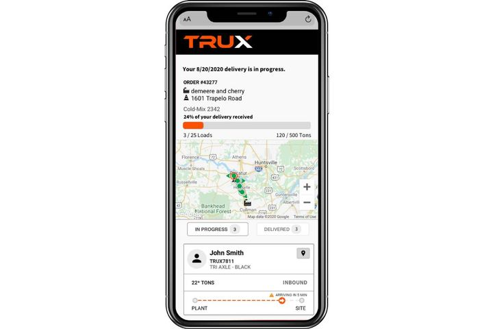 Every load delivered on TRUX is trackable by both the originator and consumer of the material. - Photo: TRUX