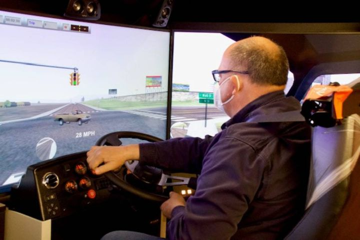 Simulators are an excellent tool to improve driver performance and more quickly pre-pare drivers for challenging situations in a typical work environment. - Photo: DTE Energy