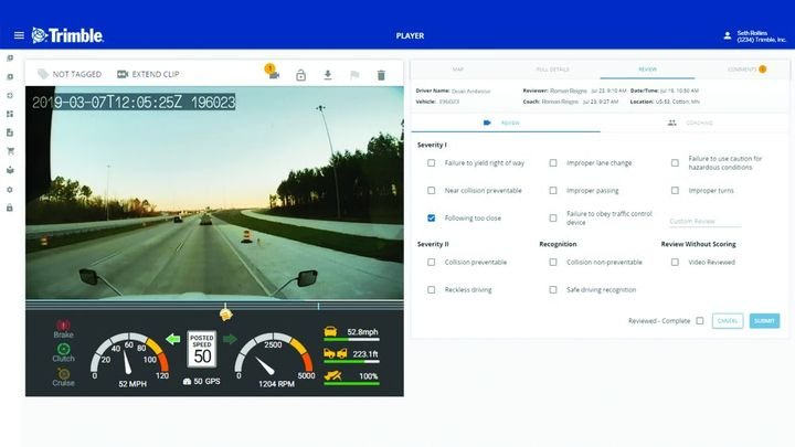 Among the benefits, beyond tracking, telematics can also help with monitoring driver fatigue and unsafe driving behaviors. - Photo: Trimble