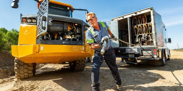 Lube truck mechanics may have hundreds of pieces of heavy machinery to service on a rotating...
