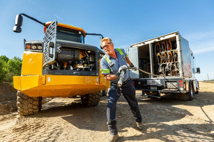 Lube truck mechanics may have hundreds of pieces of heavy machinery to service on a rotating schedule. - Photo: Miller